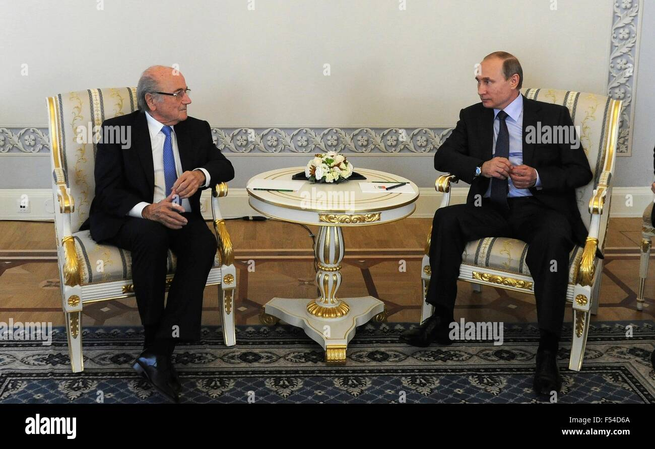 Russian President Vladimir Putin meets with President of the International Federation of Football Associations Sepp - Stock Image