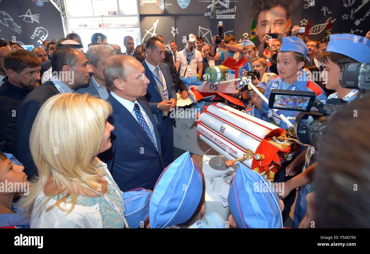 Russian President Vladimir Putin view the educational exhibit Ot vinta or Clear Prop during the International Aviation - Stock Image