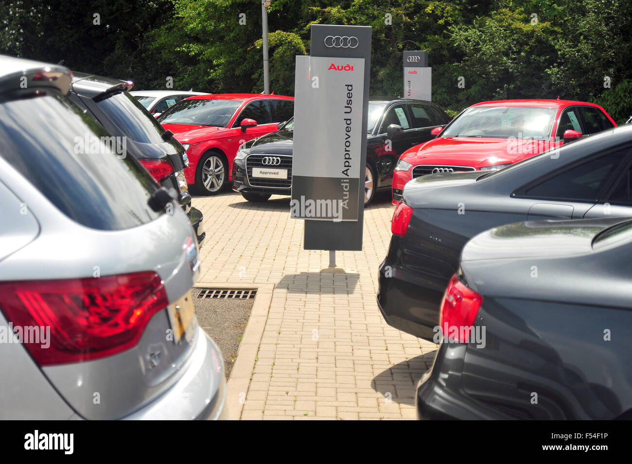 Approved used Audi cars at an Audi car dealership near to the Gloucestershire town of Tetbury in the UK. - Stock Image