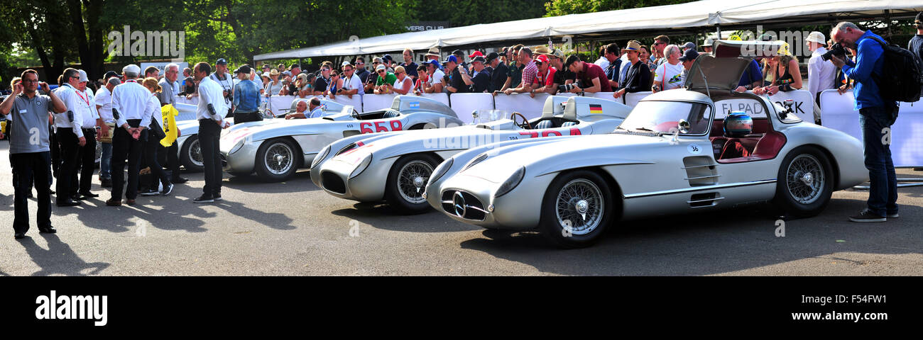 A row of Mercedes-Benz 300 SLR racing cars inside the paddock at the Goodwood Festival of Speed. - Stock Image