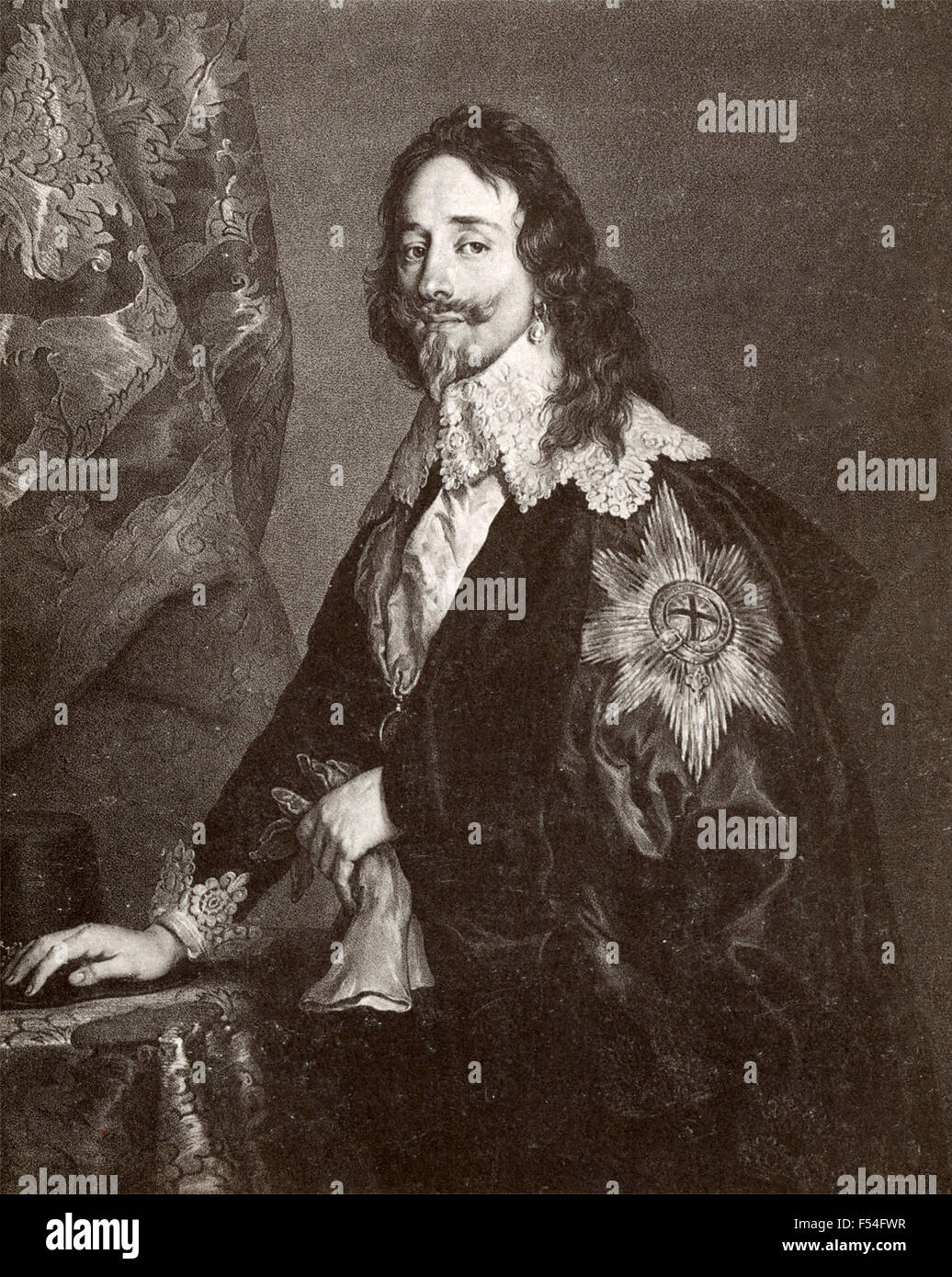 Portrait of King Charles I of England, painted by Van Dyck - Stock Image