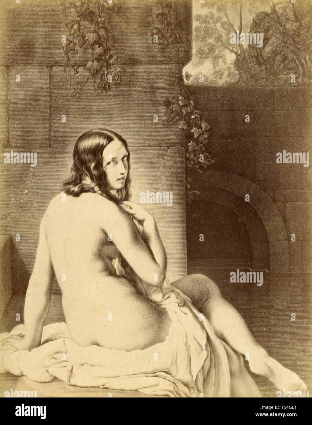 The Bather, engraving by Francesco Hayez - Stock Image