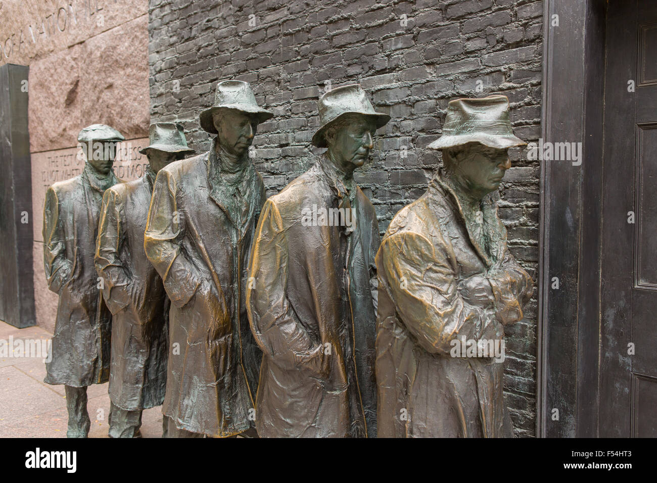 WASHINGTON, DC, USA - Franklin Roosevelt Memorial. Bronze sculpture of depression bread line. Stock Photo