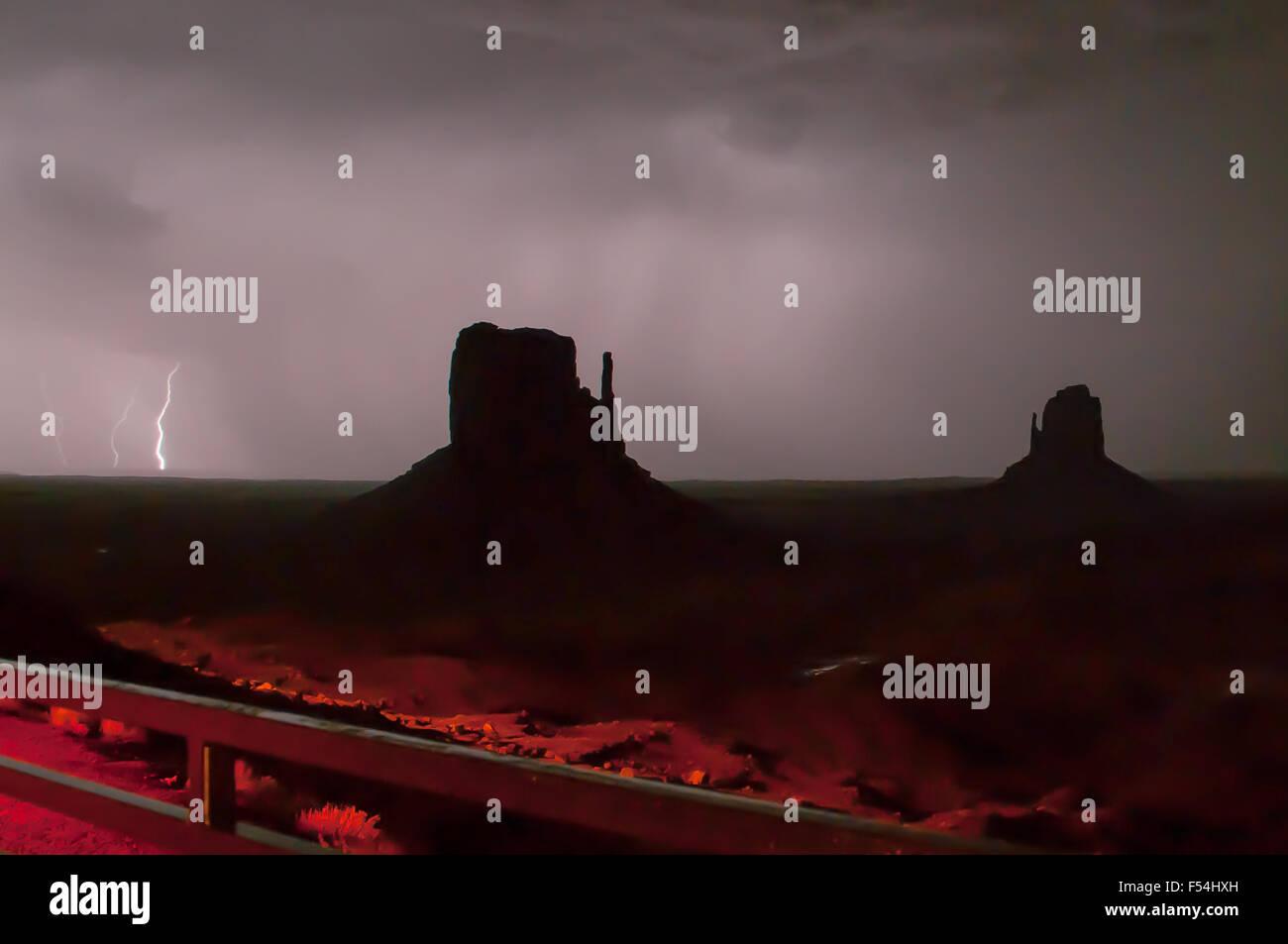 Lightning Storm over Monument Valley, Arizona Stock Photo