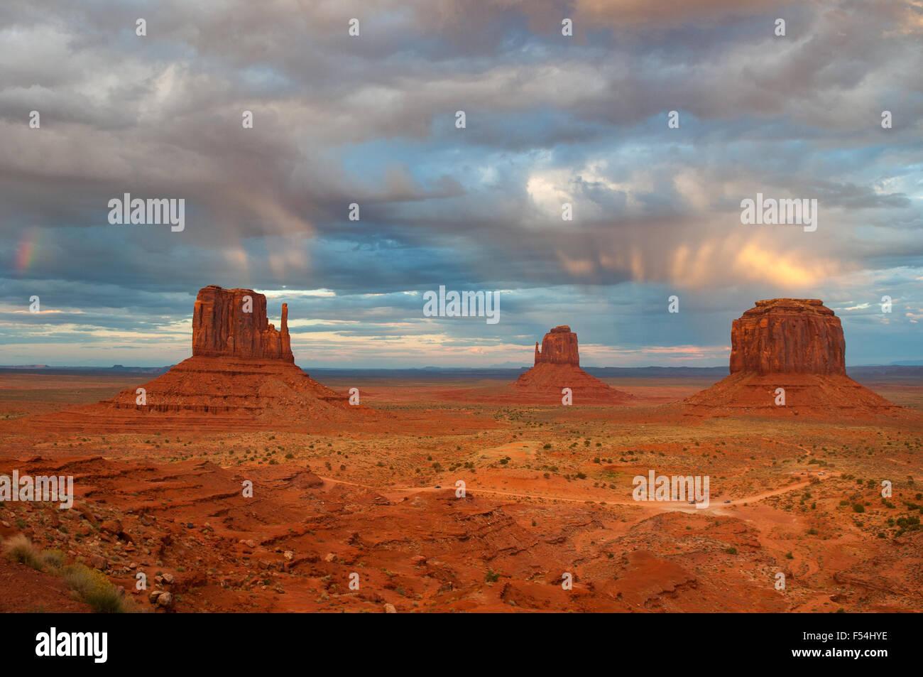 Rainstorm over Monument Valley, Arizona, USA - Stock Image