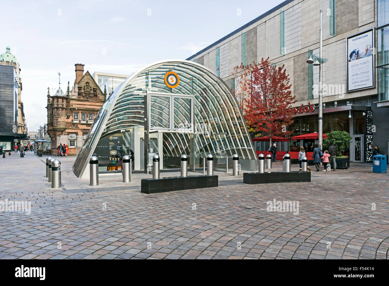 Southern entrance to SPT subway station in St. Enoch Square Glasgow Scotland - Stock Image