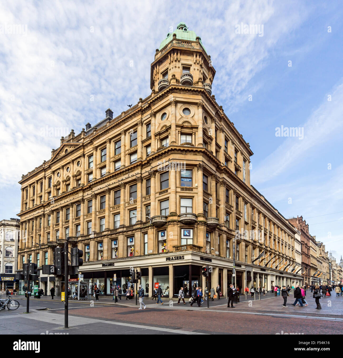 House of Fraser department store on the corner of Argyle Street and Buchanan Street in Glasgow Scotland - Stock Image