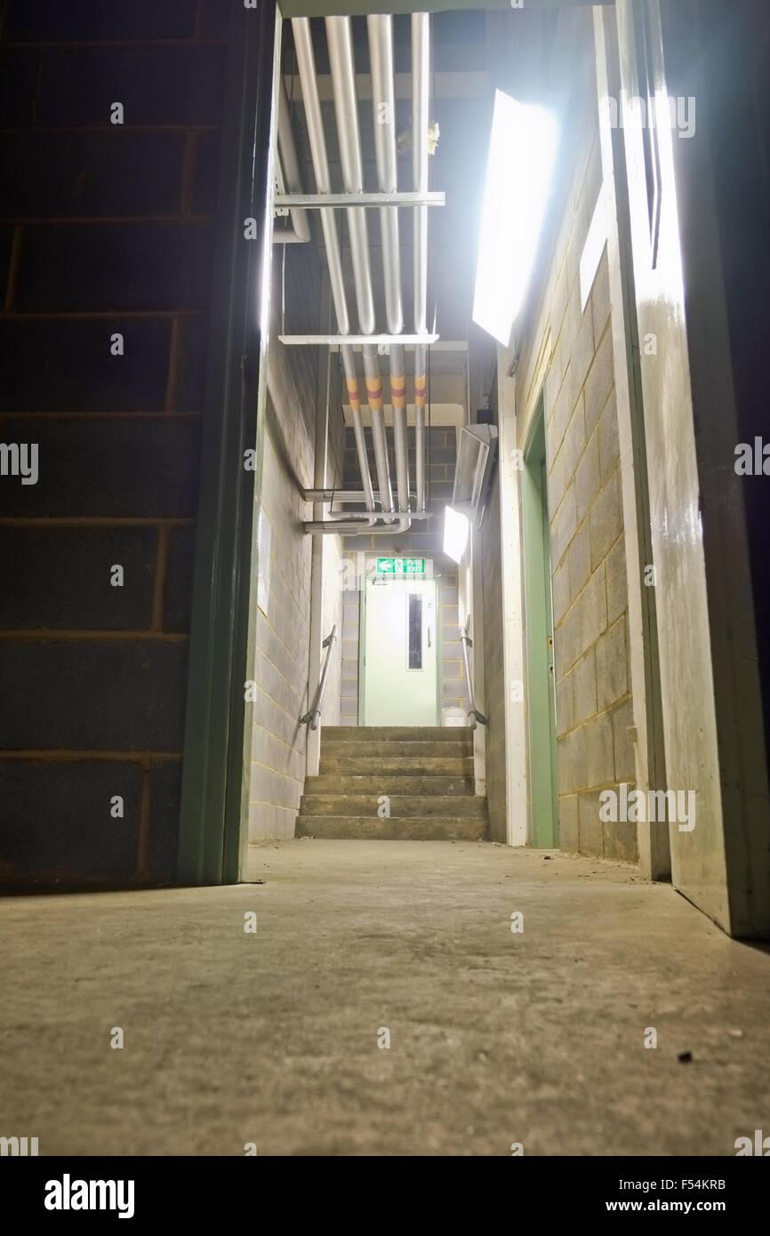 Corridor and exit door - Stock Image
