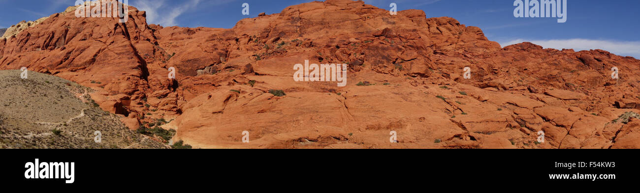 panoramic view of sandstone cliffs of Red Rock Canyon Conservation area near Las Vegas Nevada in the American Southwest - Stock Image