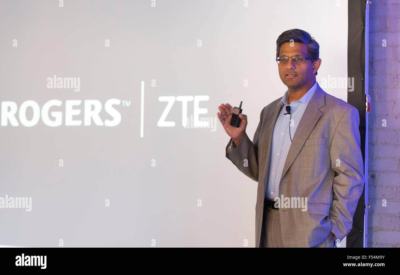(151027) -- TORONTO, Oct. 27, 2015 (Xinhua) -- Raj Doshi, executive vice president of Canadian Wireless Consumer Stock Photo