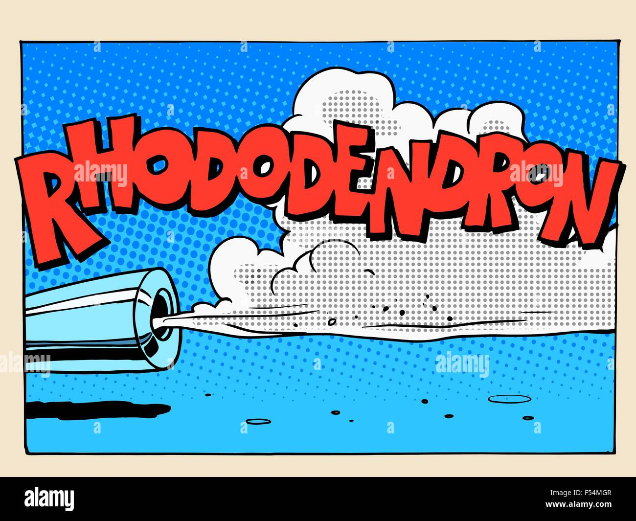 Rhododendron sound motor comic style lettering - Stock Vector
