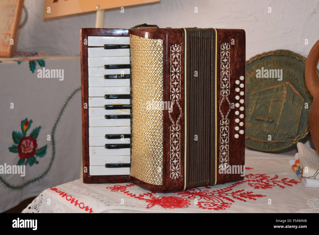 Old dusty accordion  Musical instruments of the Russian