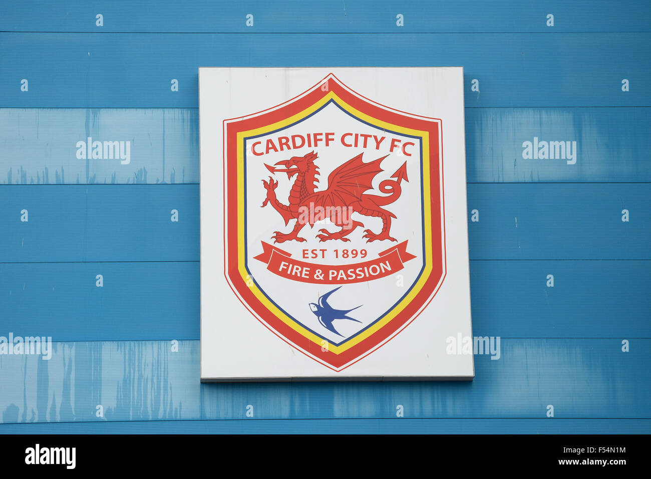 Cardiff City FC  (CCFC) badge logo at the Cardiff City Stadium in Cardiff, Wales. - Stock Image