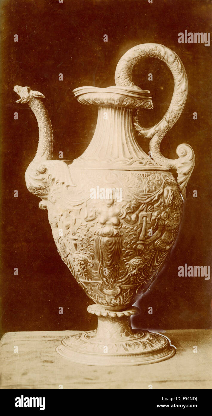 Vase embossed with school Cellini, Treasure of the Cathedral of Cagliari, Italy - Stock Image