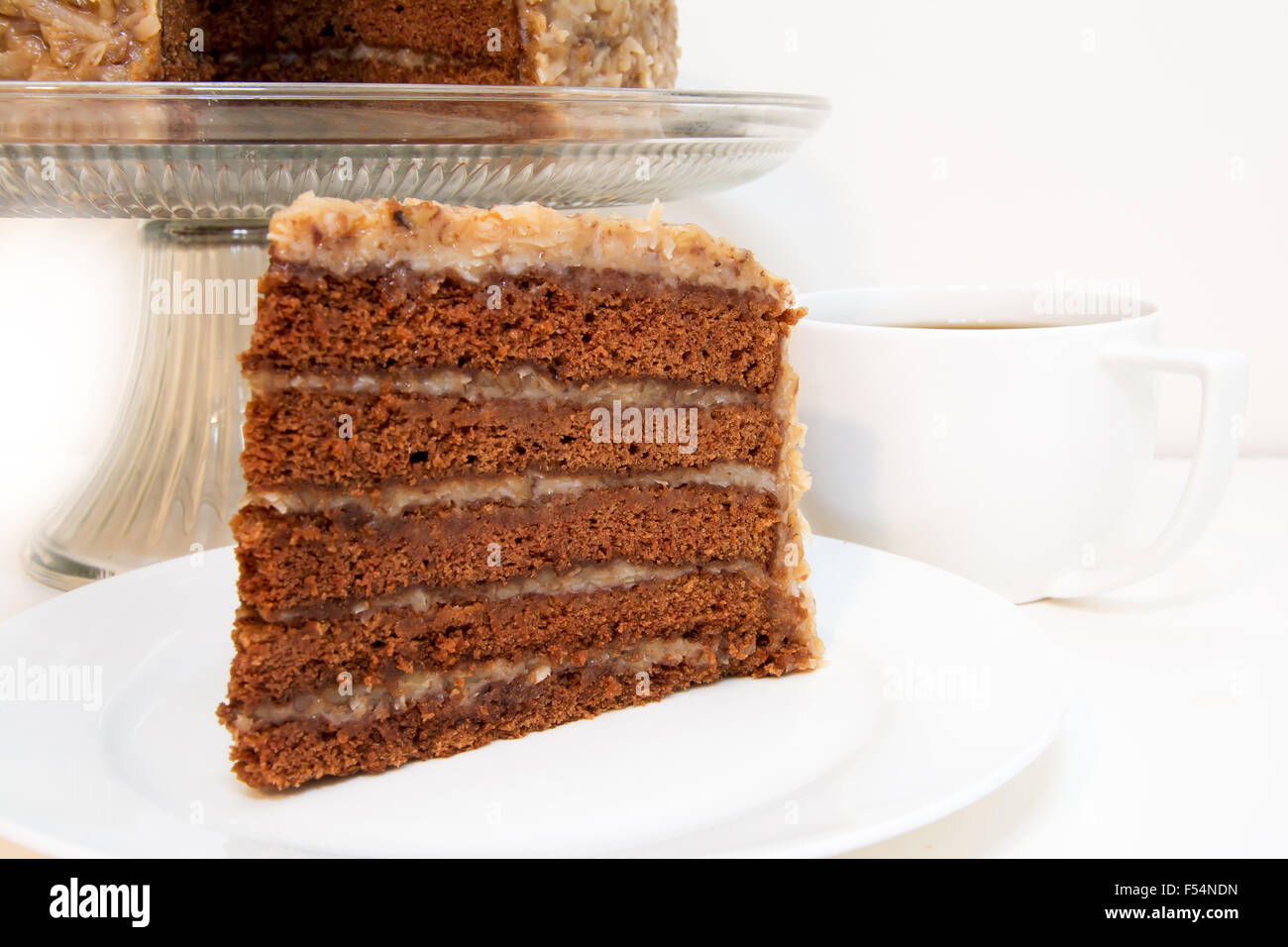 German Chocolate Cake Slice Closeup With Coffee Slice Is Removed Stock Photo Alamy
