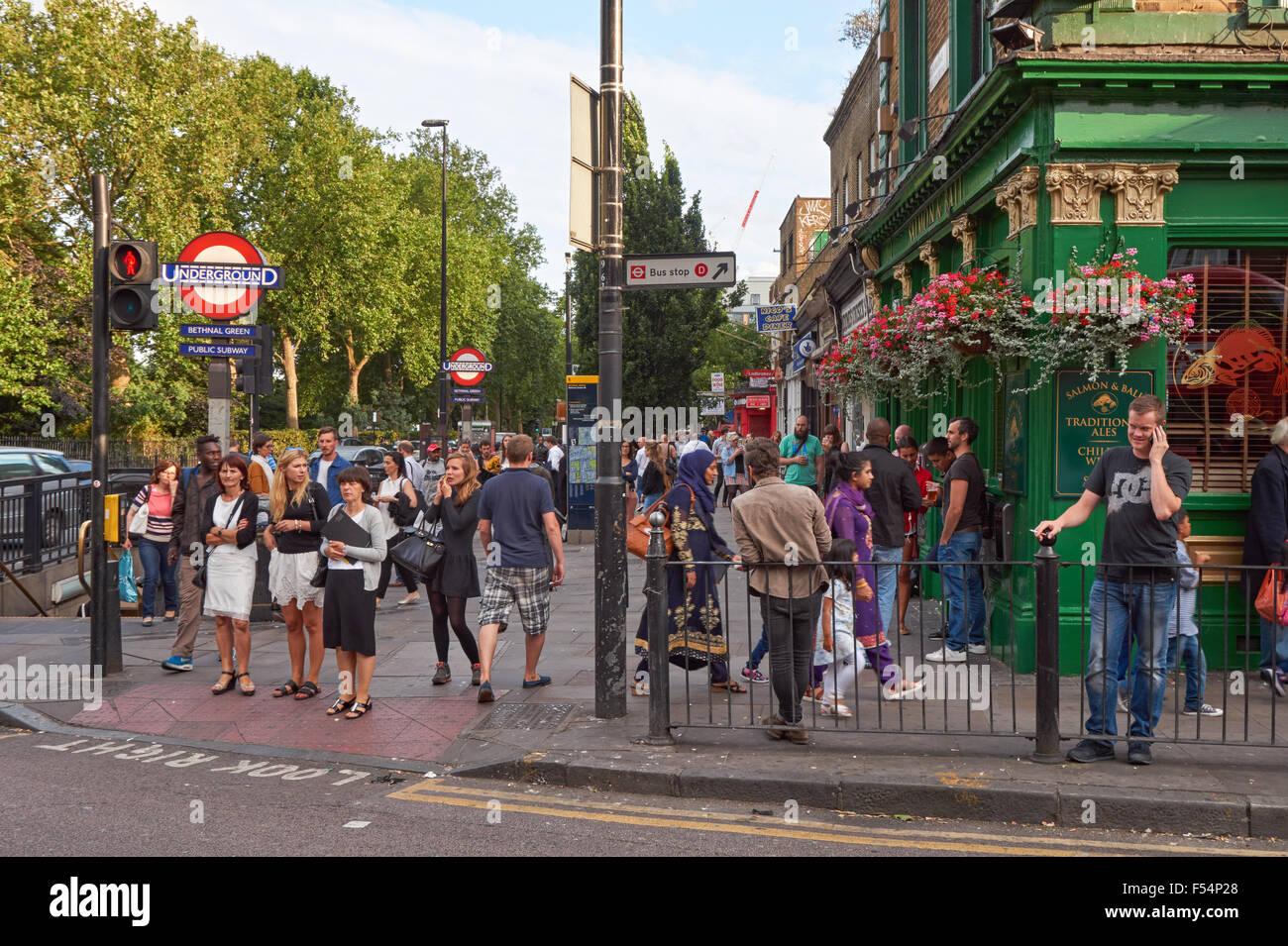 Outside Bethnal Green Underground Station, London England United Kingdom UK - Stock Image