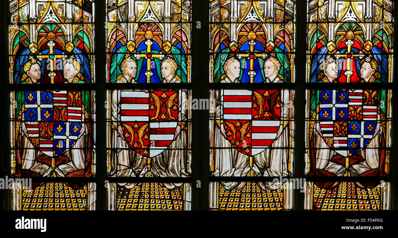 Stained glass window depicting various Coats of Arms in the Cathedral of Tours, France. - Stock Image