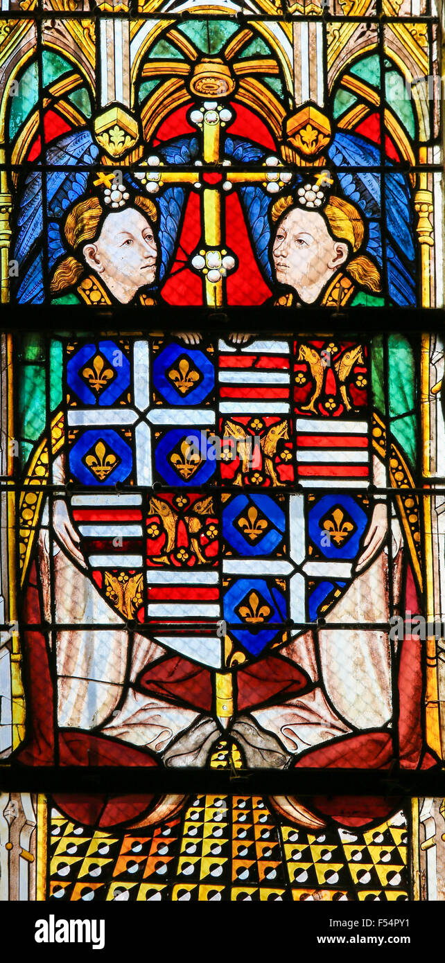Stained glass window depicting a Coats of Arms in the Cathedral of Tours, France. - Stock Image