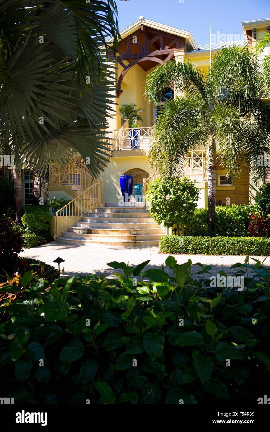 Luxury, stylish, winter home with sundeck and palm trees on Captiva Island in Florida, USA Stock Photo