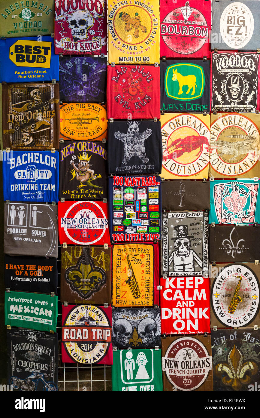 Slogans and joke signs, messages and slogans on beer mats in famous Bourbon Street in French Quarter, New Orleans, - Stock Image