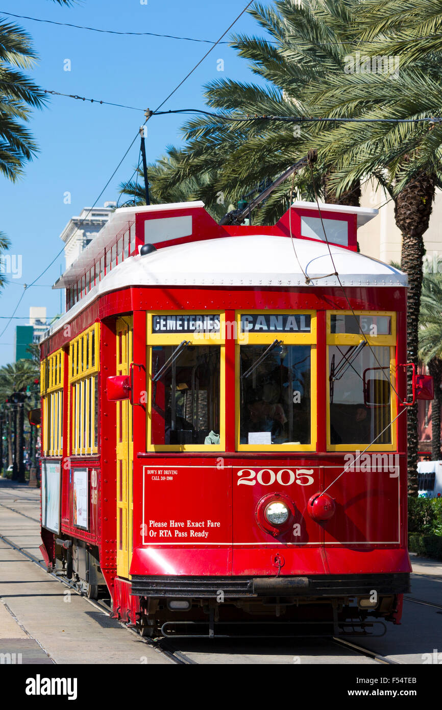 Streetcars in Canal Street in New Orleans, Louisiana, USA - Stock Image