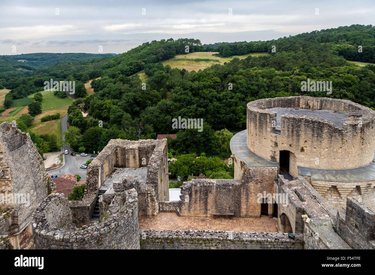 Historic architecture Bonaguil Castle Fumel France, military viewpoint. - Stock Image