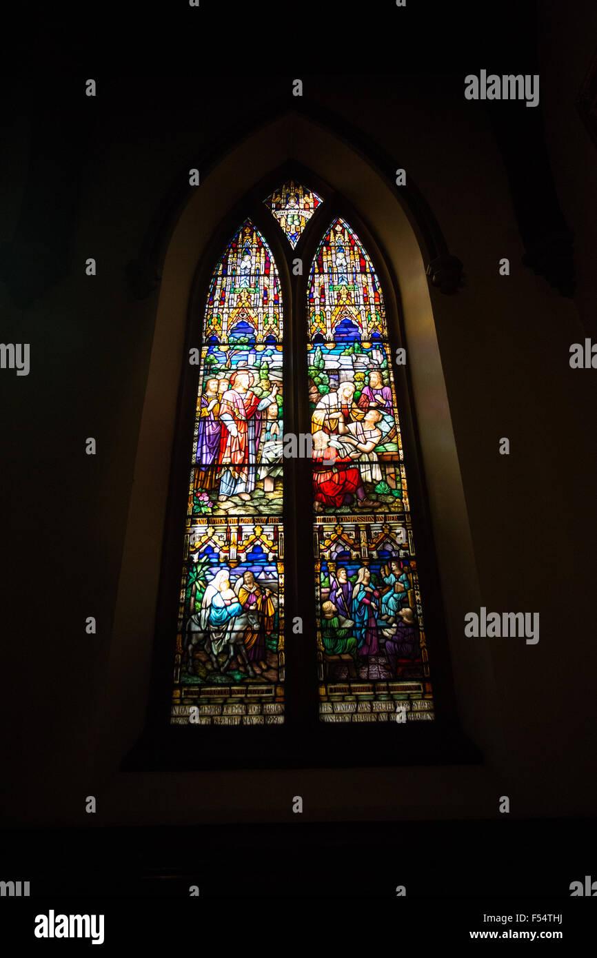 stain glass window church - Stock Image