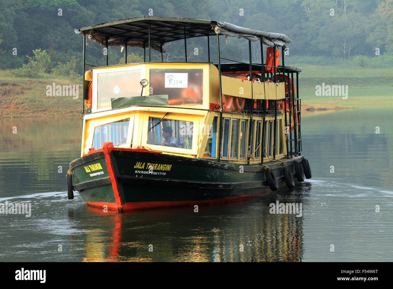 A passenger boat in Periyar Tiger Reserve Stock Photo