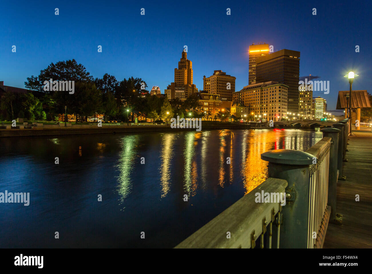 providence city night scape - Stock Image