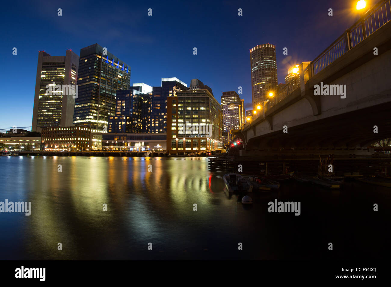 boston evening nightscape - Stock Image