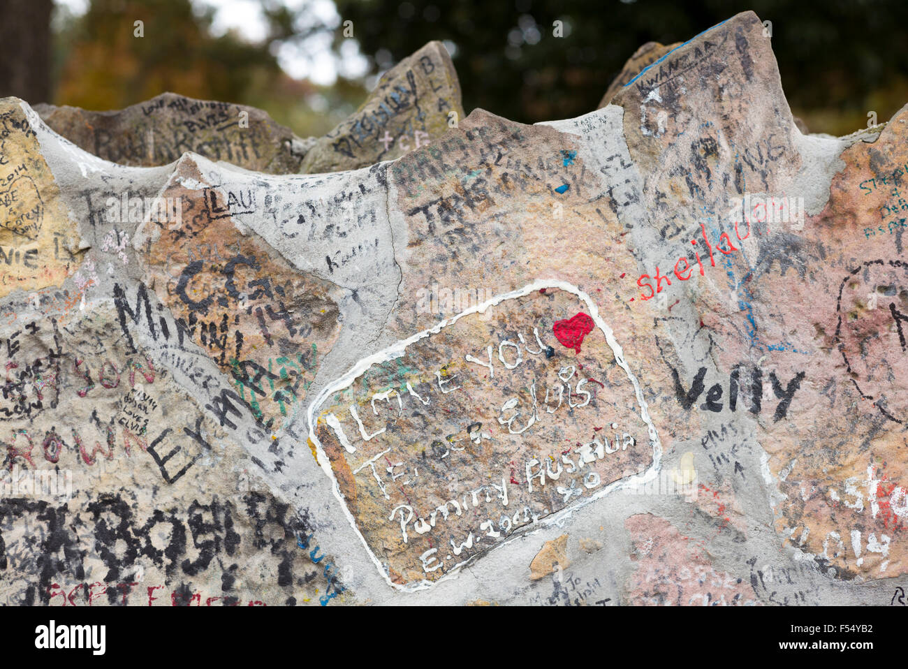 Love messages from adoring fans, graffiti on wall at Graceland, home of rock and roll star Elvis Presley, Memphis, - Stock Image