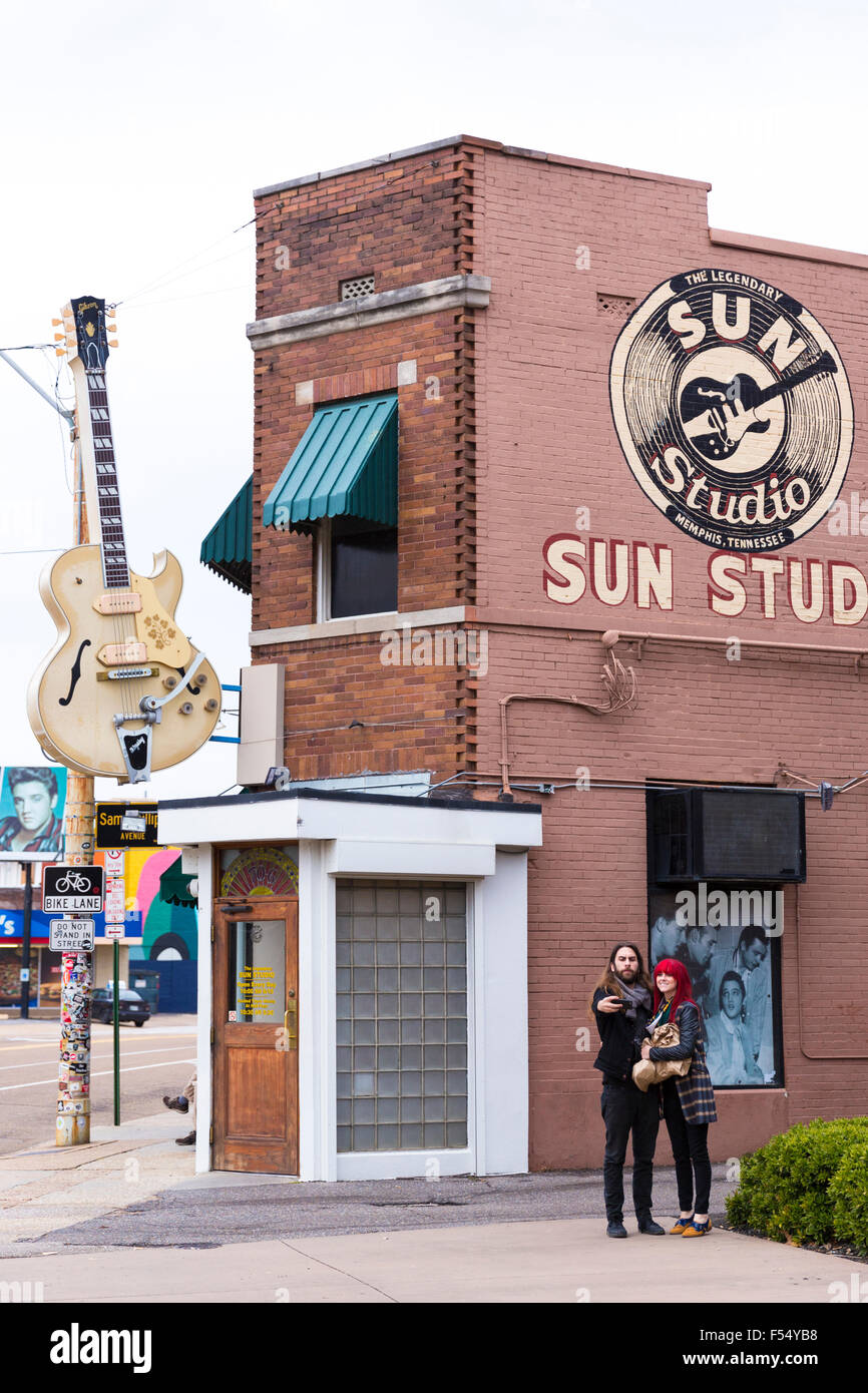 Selfie at Sun Studio, birthplace of rock and roll, stars Elvis Presley, Johnny Cash, Jerry Lee Lewis, Carl Perkins, - Stock Image