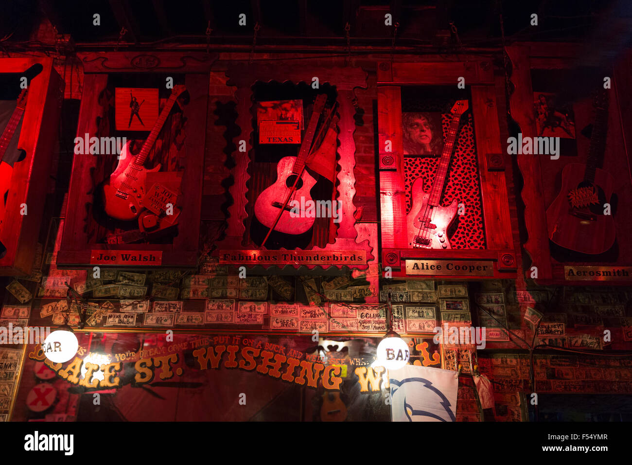 Iconic rock and roll and blues memorabilia in club in Beale Street famous for Rock and Roll and Blues, Memphis - Stock Image