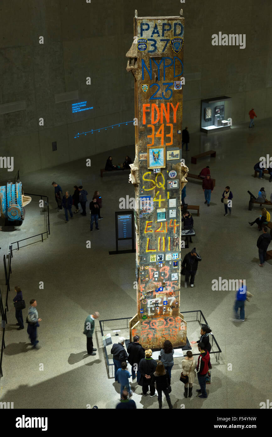Signatures on last column taken from site, exhibit National September 11 Memorial Museum, The World Trade Center, Stock Photo