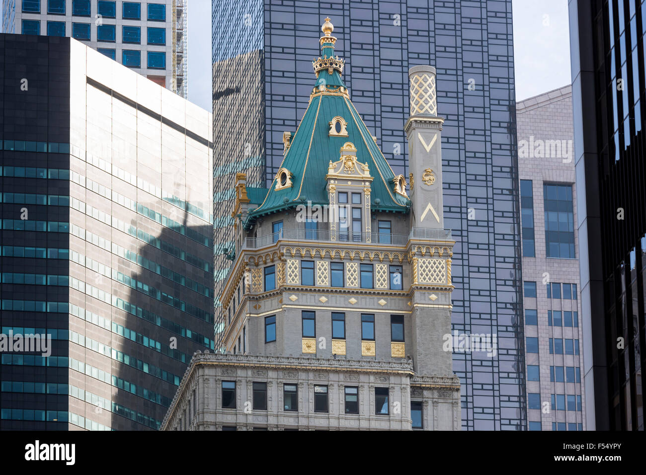 High rise skyscrapers, glass and gold leaf, on corner of 57th Street and 6th Avenue, Avenue of the Americas, New - Stock Image