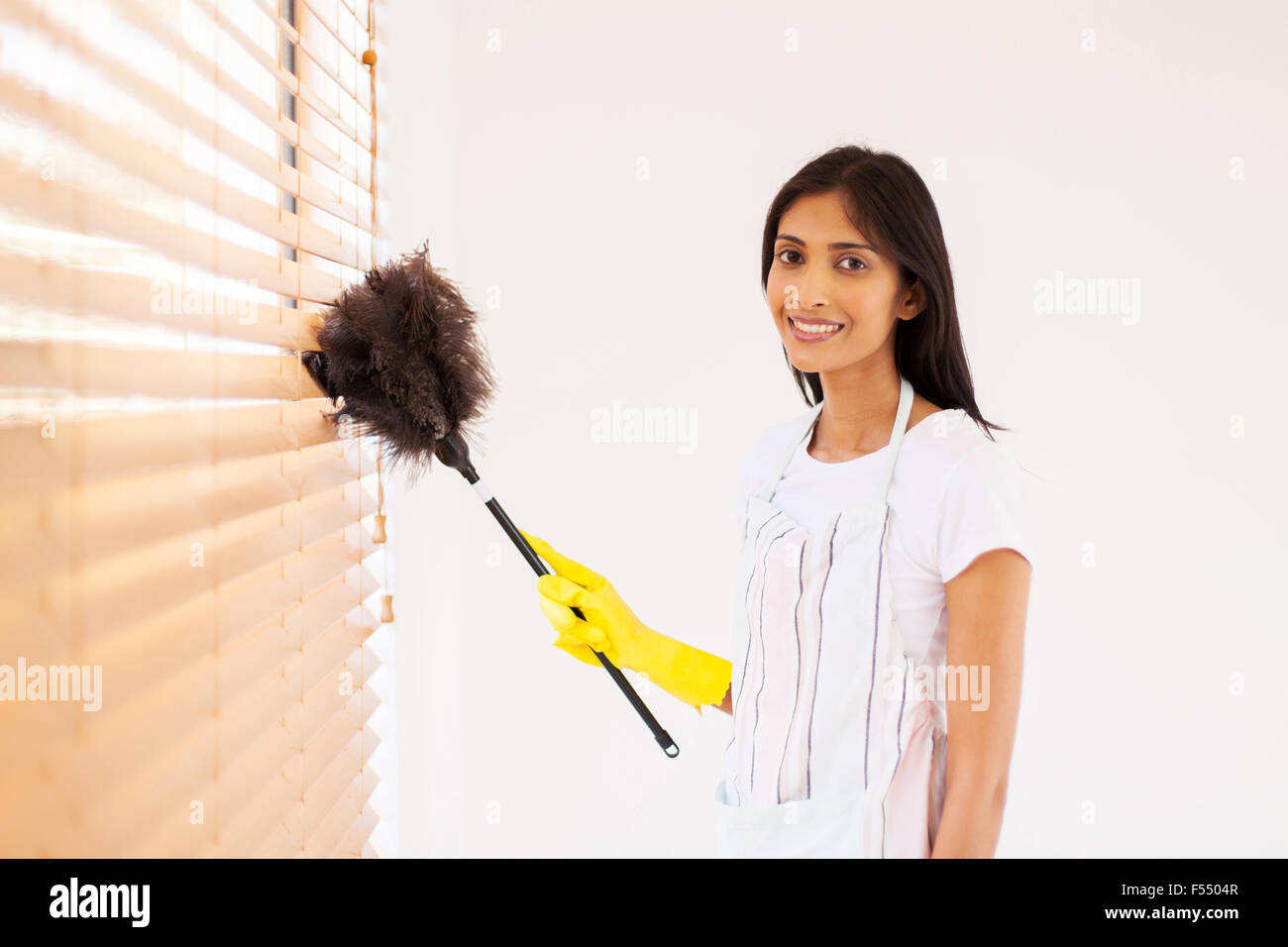 Pretty Young Indian Woman Cleaning Window Blinds With Feather Duster Stock Photo Alamy