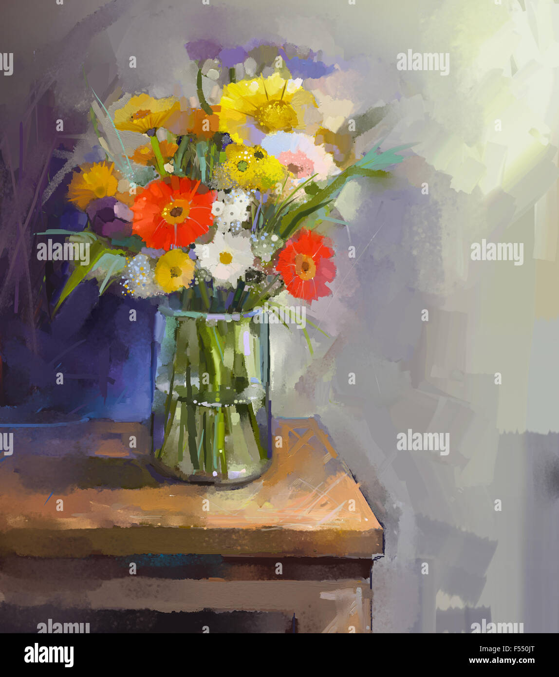 Oil painting white red and yellow flowers in glass vase in glass oil painting white red and yellow flowers in glass vase in glass vase reviewsmspy