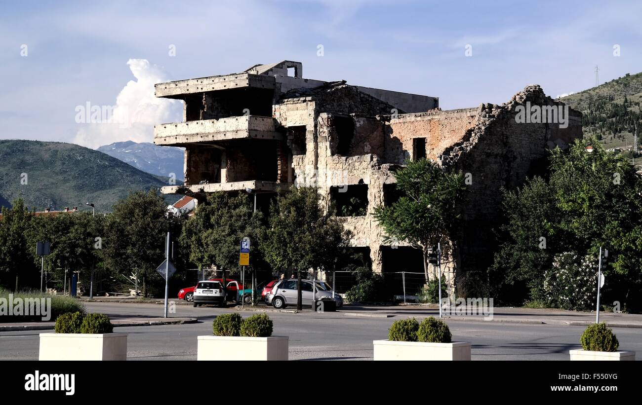 In Bosnian Civil War destroyed house in Mostar. - Stock Image
