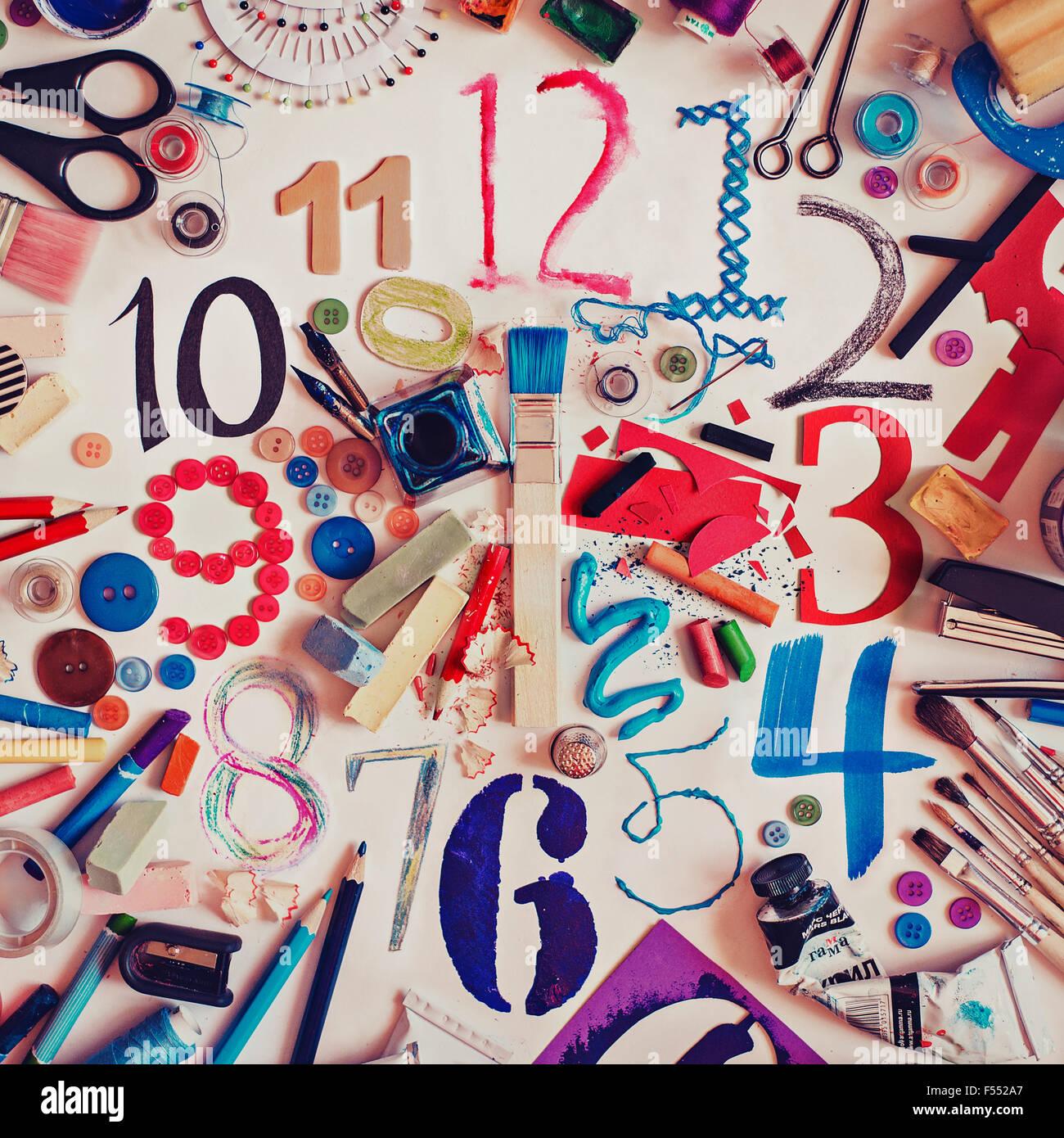 Art clock - Stock Image