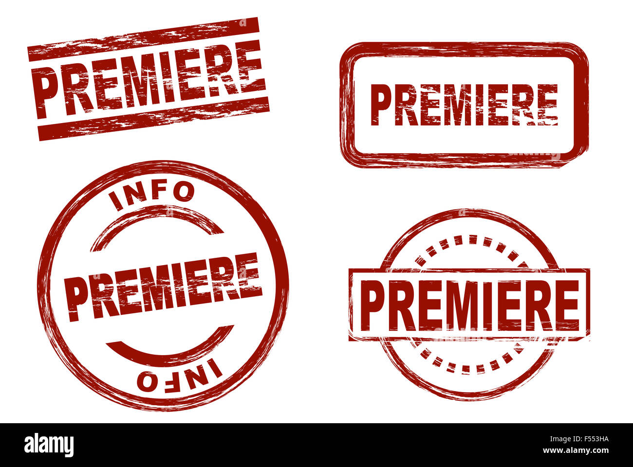 Set of stylized stamps showing the term premiere. All on white background. - Stock Image