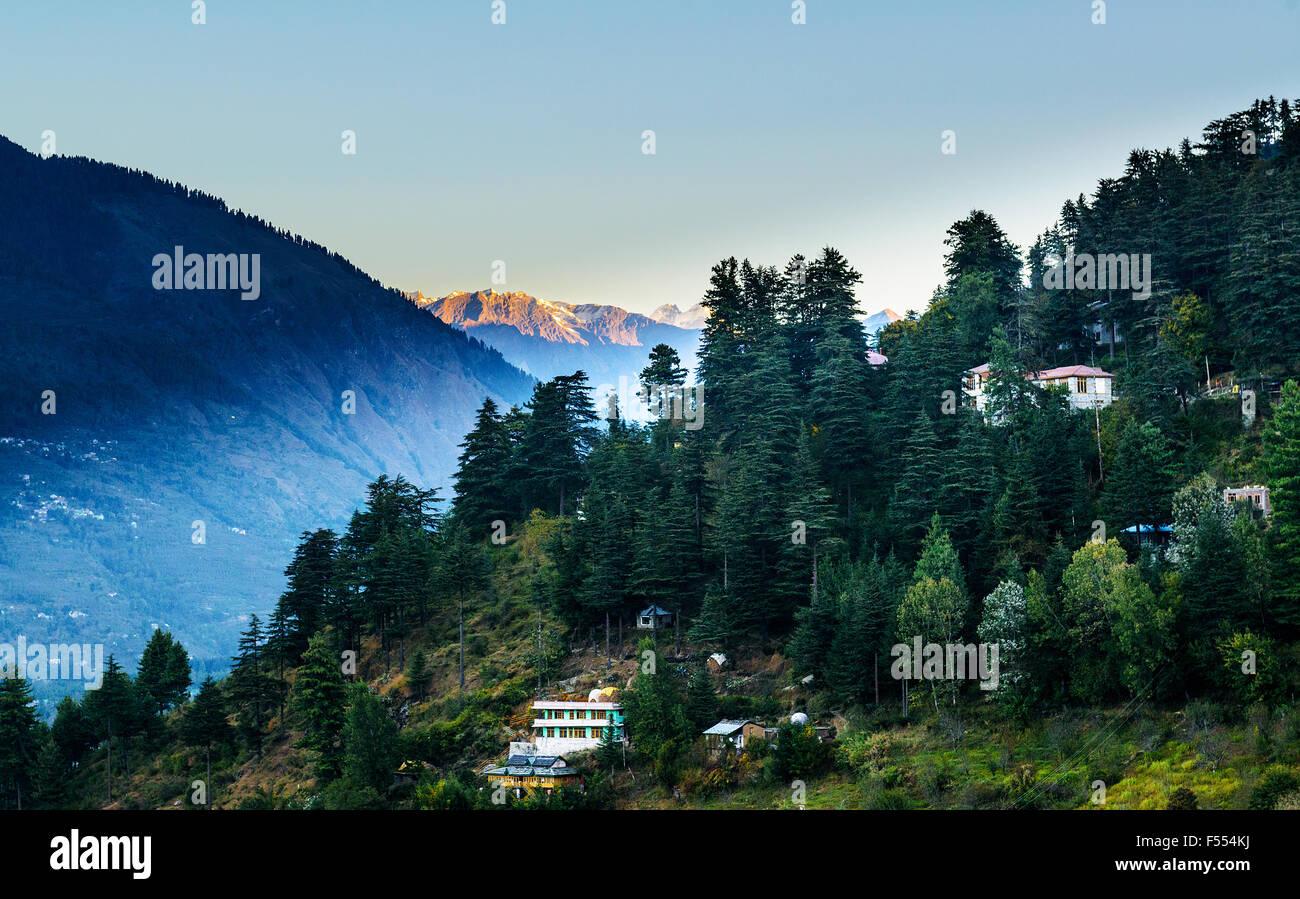 Sunrise in Kulu valley with Himalaya range  background - Stock Image