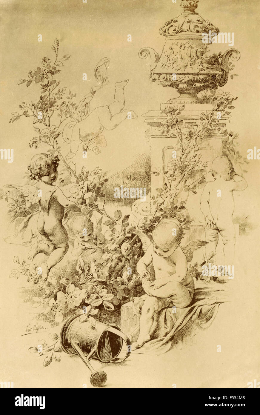 Drawing depicting cupids in a garden - Stock Image