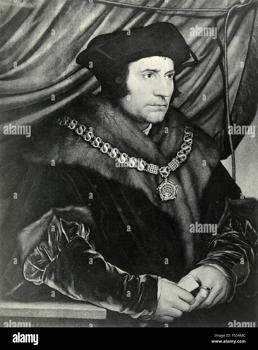 Portrait of Sir Thomas Moore, painting by Hans Holbein - Stock Image
