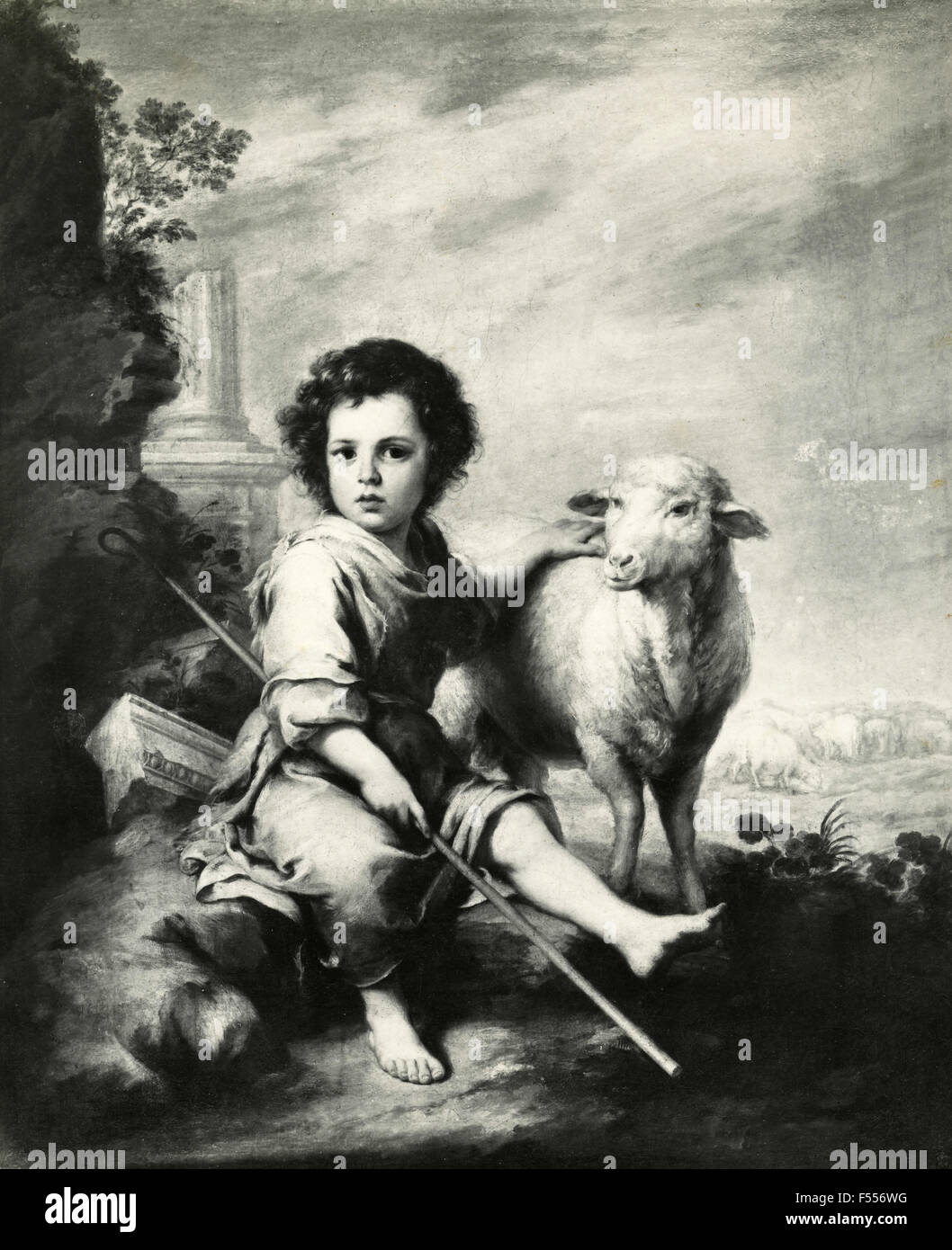 Prado picture gallery: The Divine Shepherd, painting by Murillo - Stock Image
