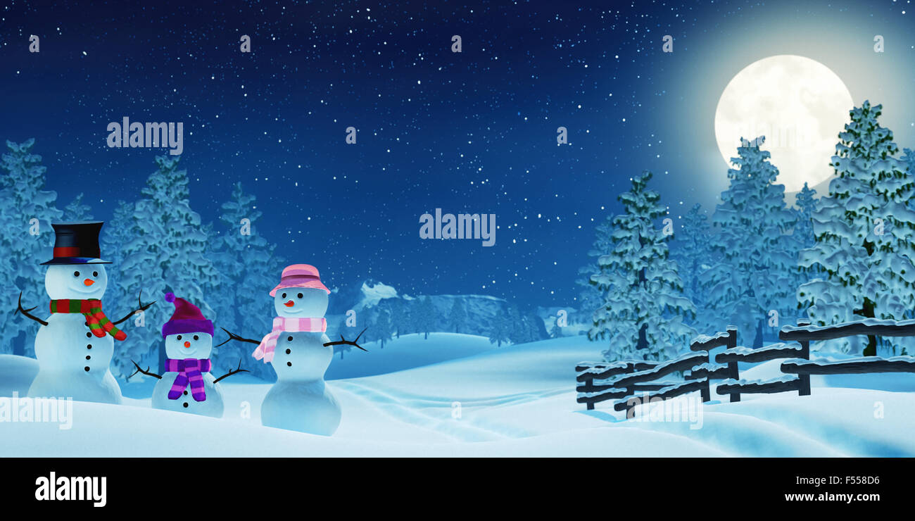 A Snowman Family In Snowy Christmas Landscape At Night The Scene Is Lit By
