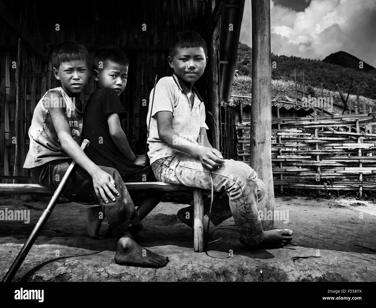 Three boys in the Muong Hoa VAlley, northern Vietnam. - Stock Image