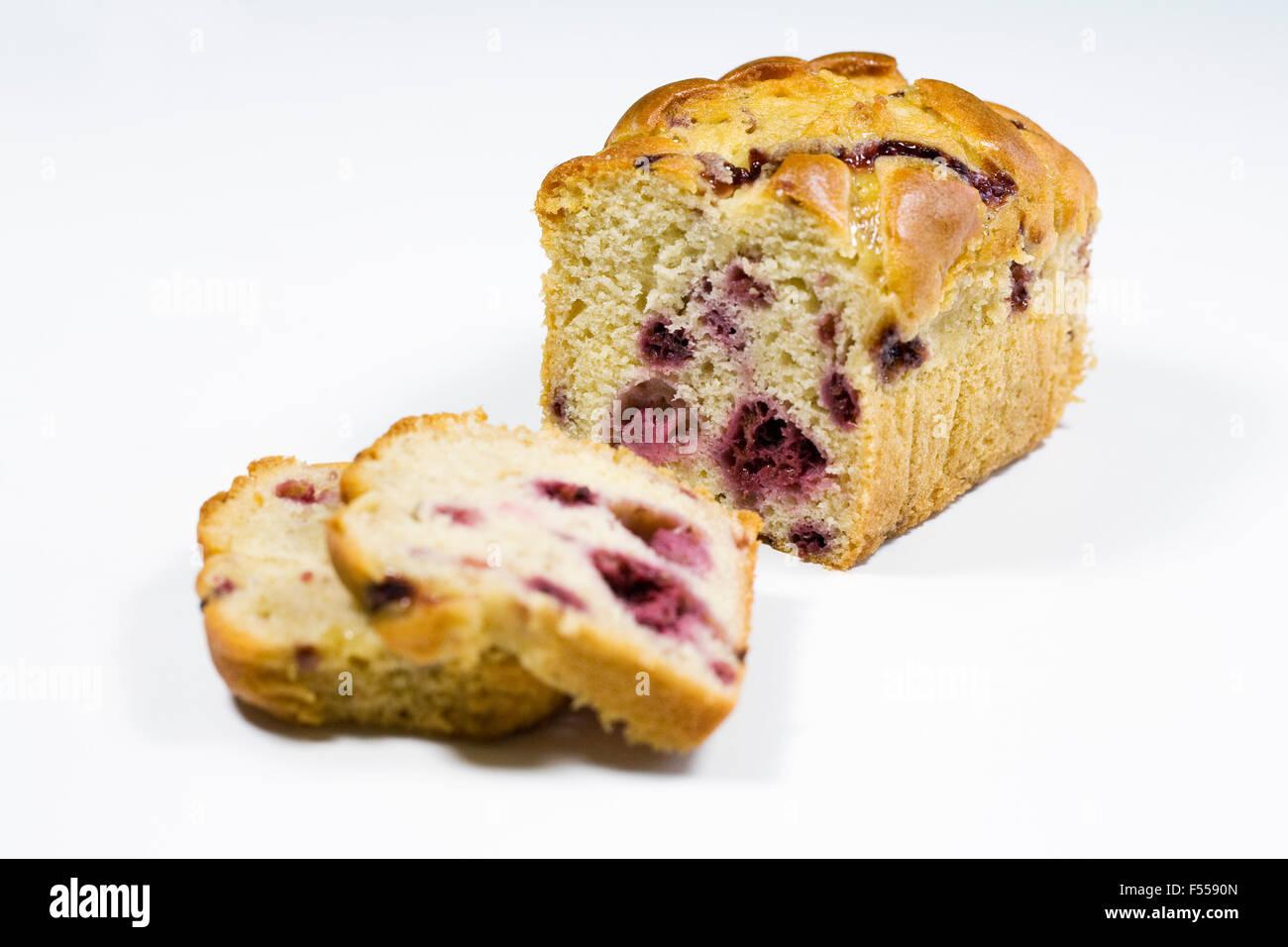 Homemade raspberry and lemon loaf cake. - Stock Image