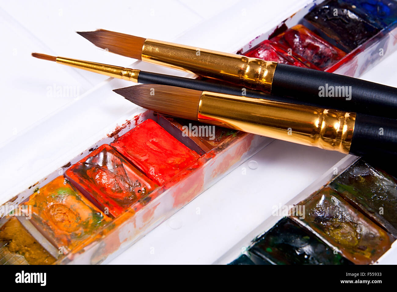 huge discount 392eb cf71c Close up view of the professional aquarelle paints in box ...