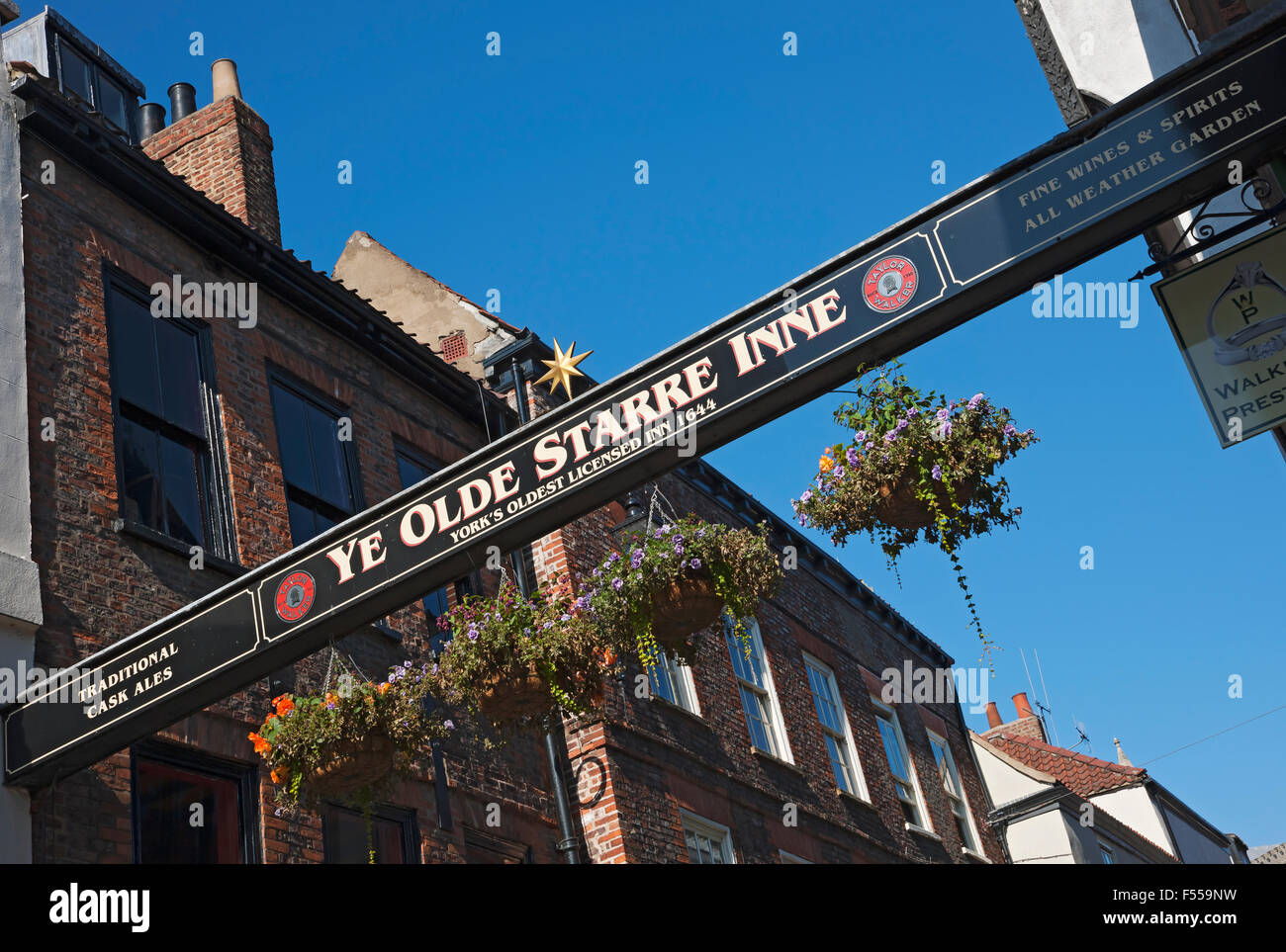 Ye Olde Starre Inne pub sign Stonegate York North Yorkshire England UK United Kingdom GB Great Britain Stock Photo
