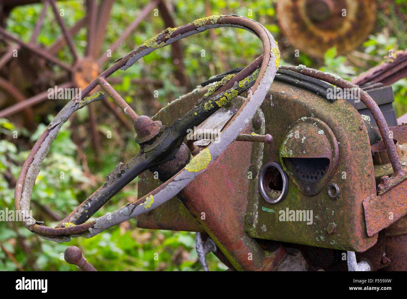 Steering wheel of an an abandoned Ferguson tractor in a field above Snailbeach in the Shropshire Hills, England, - Stock Image
